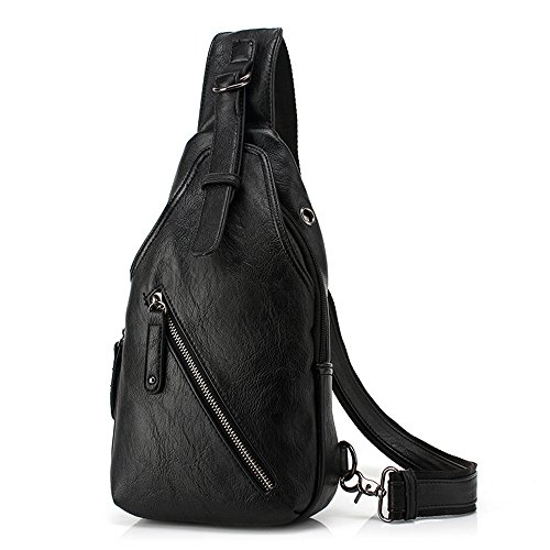 Wewod Bolso de Pecho de Cuero,Bolsa de Hombro Deporte,Mochilas de Hombro Hombre,Sling Bag for Men Trabajo Casual 17 x 32 x 5.5 cm (L*H*W) Negro