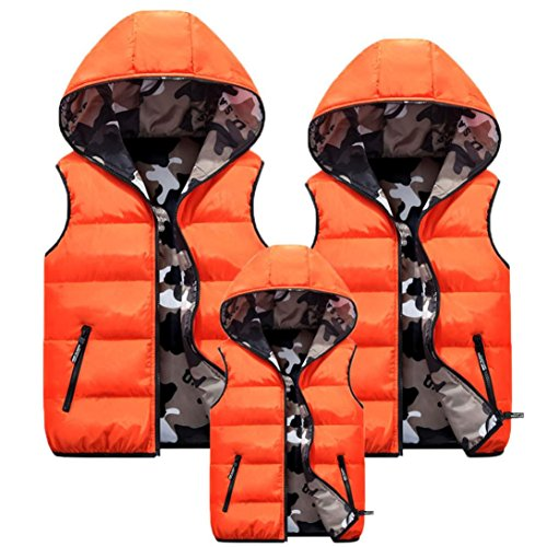 Hoodie Misaky Camo Vest Zipper Coats Puffer Sleeveless Women's Family Orange arqZwtq