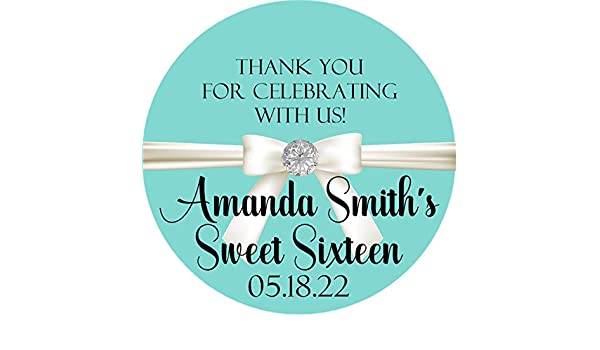 b1ab82e15f Inspired Sweet 16 Sticker Labels or Tiffany & Co. Inspired Party Favor Tags,  Tiffany & Co. Inspired Stickers, Tiffany & Co. Inspired Quinceanera:  Handmade