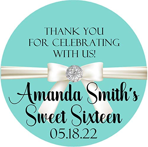 4ab556c9e5 Inspired Sweet 16 Sticker Labels or Tiffany   Co. Inspired Party Favor  Tags