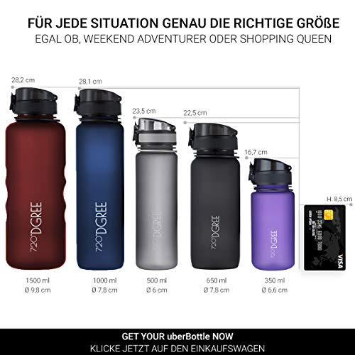 720°DGREE Water Bottle uberBottle Sports Bottles - Tritan Plastic - BPA Free | Ideal Drinking for School, Fitness, Outdoor, Camping | Simple 1-Click Opening | Black, 1 Liter, 32oz by 720°DGREE (Image #4)