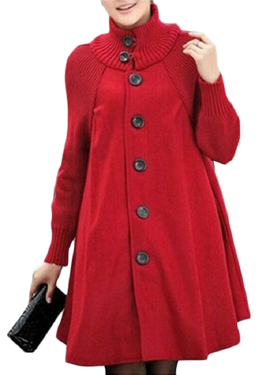 Red Womens Winter Casual Loose Woolen Coat Warm Thick Overcoat