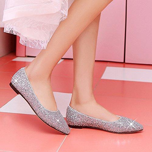 Estrecha Glitter Mujeres Slip Plata Flats Sequins Zapatos On Punta Casual Comfort de Boda rq0rPAw