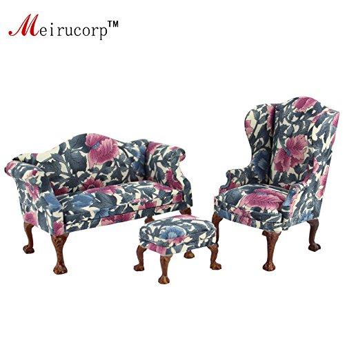 Miniature furniture Petal pattern Living room chair and sofa set ()