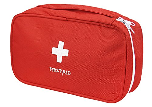 (PAXLee Red First Aid Bag Empty, First Aid Kit Empty First Aid Pouch Small Mini Waterproof for First Aid Kits Pack Emergency Hiking Backpacking Camping Travel Car Cycling)