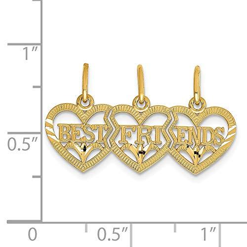 14k Yellow Gold Triple Heart D/C Best Friends Break-apart Pendant