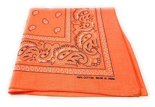12 Pack One Dozen Neon Orange Color Bandana Paisley Cowboy 100% Cotton Scarf by M.H.I.