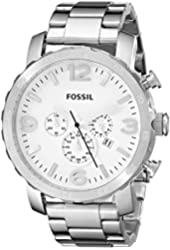 Fossil Men's JR1444 Nate Chronograph Stainless Steel Watch - Silver-Tone