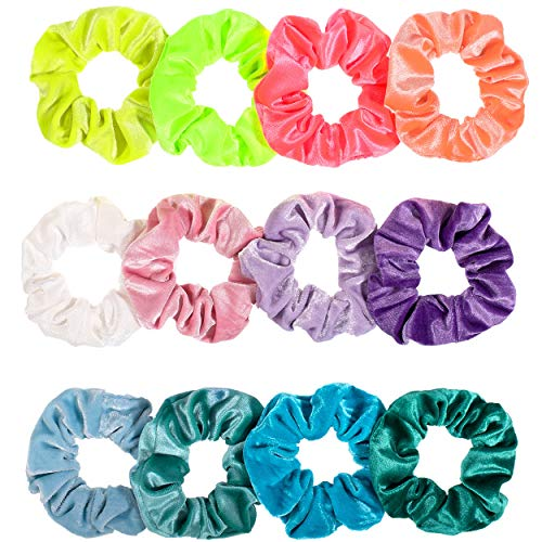 Whaline Hair Scrunchies Velvet Hair Bobble Elastics Hair Bands Soft Hair Ties for VSCO Girls and Women (Neon color)