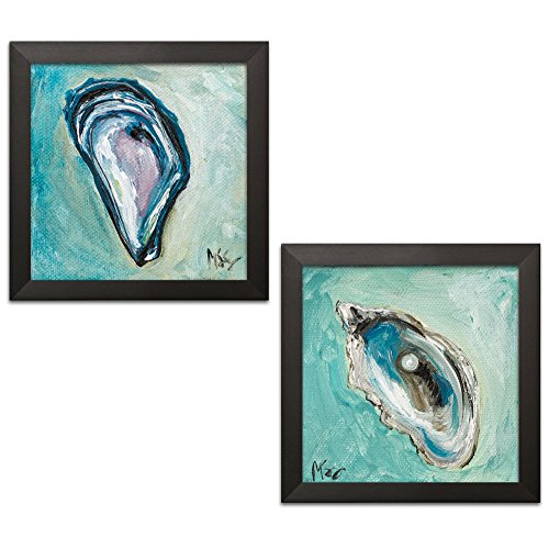 Sagebrush Fine Art Beautiful Teal and Blue Pearl in Oyster Set; Coastal Décor; Two 12x12in Black Framed Prints