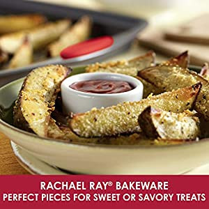 Rachael Ray 47423 Bakeware Nonstick Cookie Pan Set, 3-Piece, Gray with Red Grips