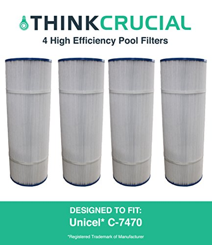 4 Replacements for Unicel Pool Filter Fits C-7470 & Pleatco PCC80, Premium Filtration, 20'' x 7'' in., by Think Crucial by Think Crucial