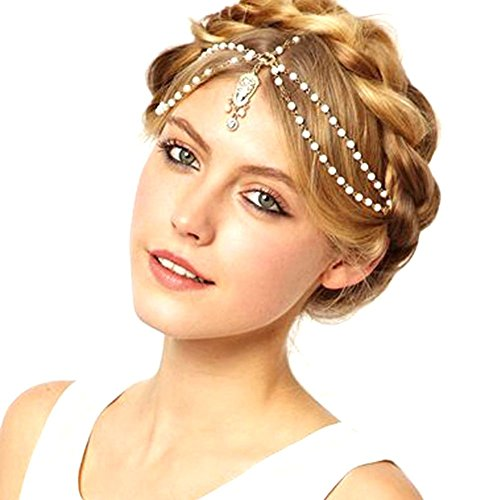 TS Unique Fashion Metal Head Chain Jewelry Chain Beaded Headband Head Piece Flapper Hair Band (A)
