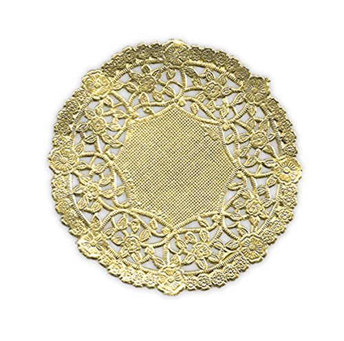 (Pack of 50) Black Cat Avenue 4 Inch Round Metallic Gold Foil Doilies]()