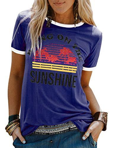 Nlife Women Casual Bring On The Sunshine Letter Print Dri-Fit T-Shirt Women Short Sleeve T-Shirt Tops (XXL, Blue)