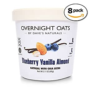Dave's Naturals Overnight Oats Blueberry Vanilla Almond (pack of 8)