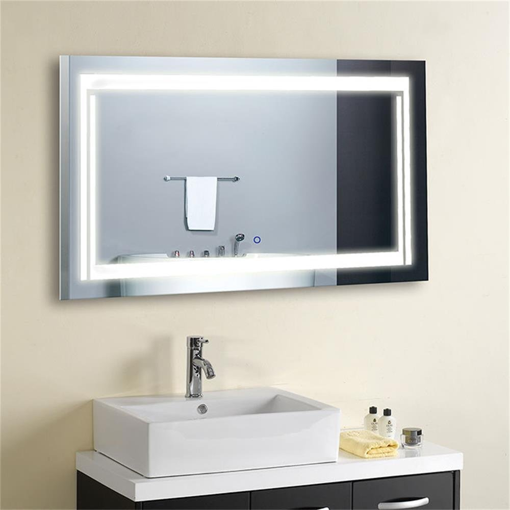 Lighted Wall Mirror: DECORAPORT 36 Inch * 28 Inch Horizontal LED Wall Mounted Lighted Vanity  Bathroom Silvered Mirror Large Cosmetic Mirror with Touch…,Lighting