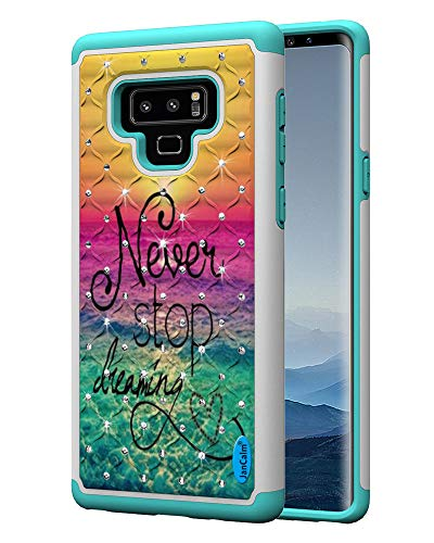 (JanCalm Galaxy Note9 Case [Shock Absorption] Dual Layer Protection Studded Rhinestone Crystal Bling Back Cover Hard Cell Phone Case for Samsung Galaxy Note 9 (2018) + Crystal Pen (Never Stop/Teal))