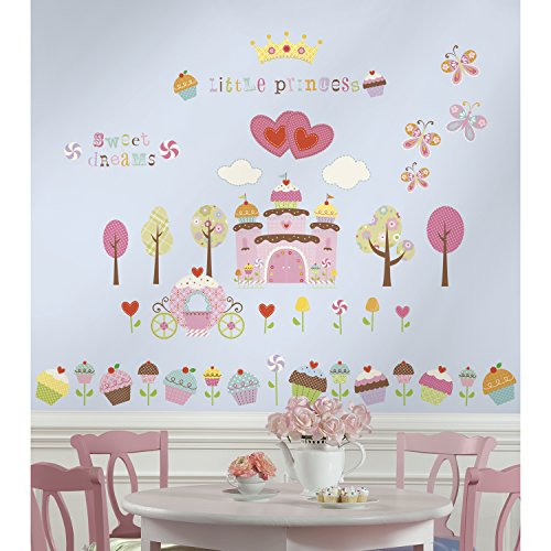 RoomMates RMK1605SCS Happi Cupcake Land Peel and Stick Wall Decals, 56 - Stickers Cupcake Wall