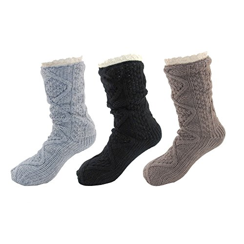 Extra Thick Soft Warm Cozy Fuzzy Thermal Cabin Fleece-lined Knitted Non-skid Crew Socks -Assortment H - 3 pairs