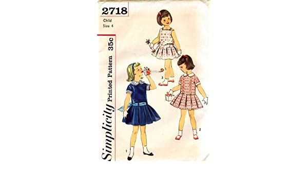 9c93871cb4b Amazon.com  Simplicity 2718 Girls Dress Detachable Collar Cuffs Vintage  Sewing Pattern Check Offers for Size  Arts