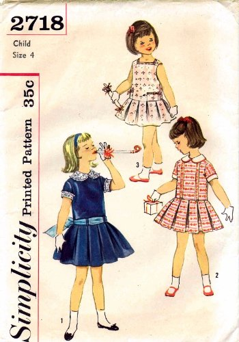 Simplicity 2718 Girls Dress Detachable Collar Cuffs Vintage Sewing Pattern Check Offers for Size