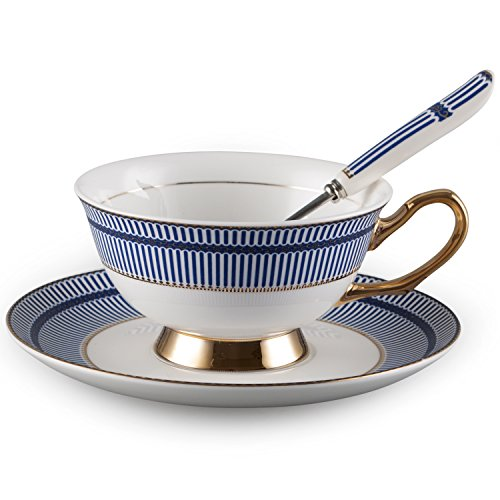Neolith Vintage Bone China Tea Cups and Saucers Set Coffee ()