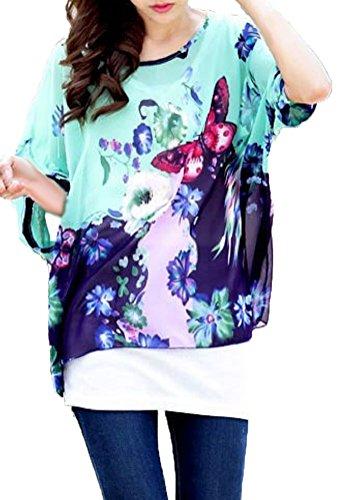 Hippie Mousseline Souris Manche Blouse en Femme Cover Soie 3 Chemise 4 Chic Bikini Mode Cache Plage Kimono Up de Chauve Maillots Bain de Tunique Caftan Imprimee de 15 Haut Boheme Multicolore Floral Top Beachwear a506qO