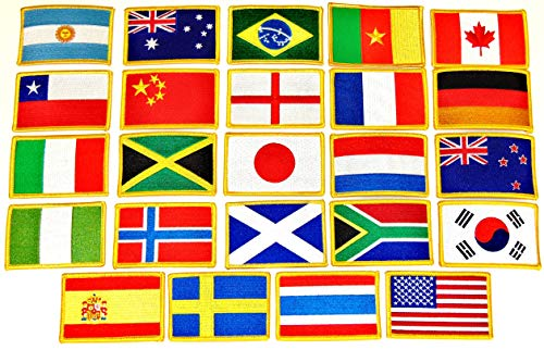 Women's World Cup 2018 Soccer Flag Patch Set - Set of 24 Embroidered Flag Patches 3.50