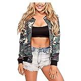 Vamvie Women's Casual Long Sleeve Print Zip Up Slim Fit Stand Collar Bomber Jacket