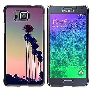 Árboles de Los Ángeles La Puesta del sol púrpura de Palm - Metal de aluminio y de plástico duro Caja del teléfono - Negro - Samsung ALPHA G850