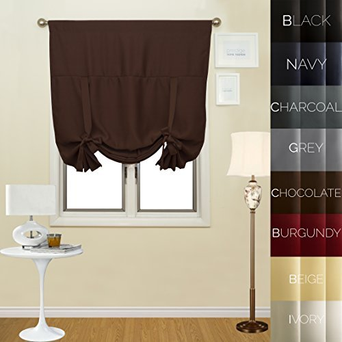 "Prestige Home Fashion Thermal Insulated Blackout Tie-Up Window Shade - Rod Pocket - Chocolate - 42""W x 63""L, 1 Panel"