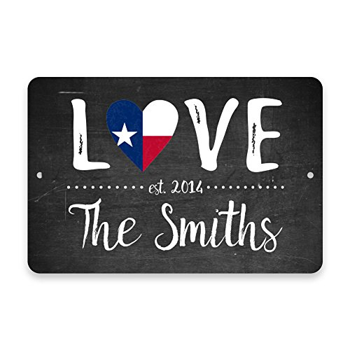 Personalized Chalkboard Texas Love State Flag Metal Room Sign with Family (Texas Street Sign)