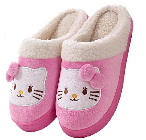 Cartoon Cat Pink Fleece Premium Women's Skid Slippers Proof Maybest Plush House vzTEwqggx
