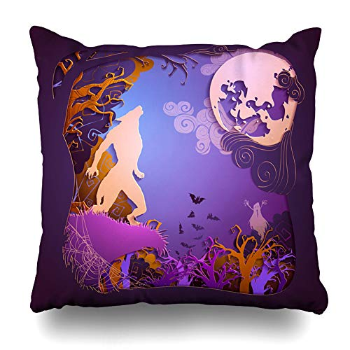 Kutita Decorativepillows Covers 16 x 16 inch Throw Pillow Covers,Happy Halloween Art Black Cat Pattern Double-Sided Decorative Home Decor Pillowcase