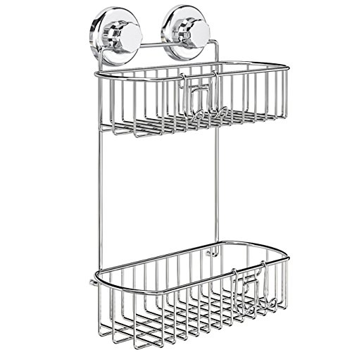 HASKO accessories – Shower Caddy with Suction Cup – 304 Stainless Steel 2Tier Basket for Bathroom – Rustproof (Chrome)