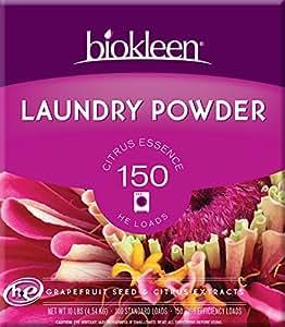 Biokleen Laundry Powder, Citrus Essence, 10 Pounds - 150 HE Loads/100 Standard Loads