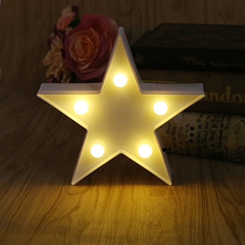 Cheap Mimgo 3D Star Table Lamp 5 LED Battery Operated Night Light Children's Room Decor (Warm White) (White)