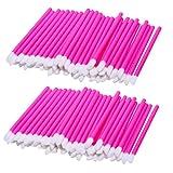 MagiDeal Lot of 100 Pieces Disposable Lip Gloss Brush Lipstick Wands Lipgloss Makeup Applicators Plastic Handle - Pink