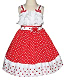 Baby Girls Red Summer Dress With Polka Dots and Twirly Skirt For Disney Pictures