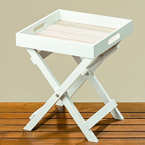 Whole House Worlds The Cape Cod Cocktail TV Tray, White and Pale Wood Tones, Natural Wood and MDF Shiplap, 11 ¾ L x 11 ¾ W x 14 ¼ Inches By For Sale