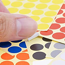 eBoot 3/ 8 Inch Round Dot Stickers Color Coding Labels, 10 Different Colors Dot Labels, 10 Sheets