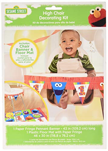 amscan 1st Birthday High Chair Decorating Kit Party Supplies Elmo Sesame Street Fun to Be One! One Size, Multicolor -