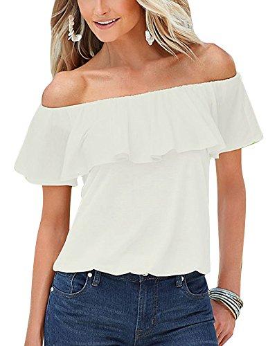 Mujer Camiseta Volantes Blusa Playa Hombros Descubiertos Elegante Solida De Manga Corta Tops Blanco