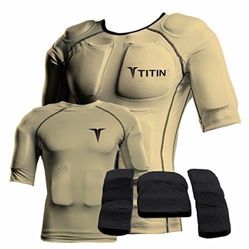The TITIN Force Weighted Shirt System - 8 Lbs Of Hydro-Gel Inserts - 1 14-Pocket Inner Compression Shirt - 1 Outer Compression Shirt (Medium, Desert Sand)