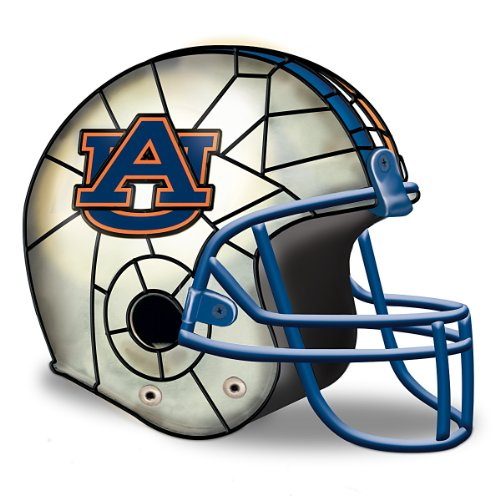 Auburn Tigers Officially-Licensed Football Helmet Lamp - By The Bradford - Stained Game Glass State Table