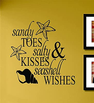 Sandy toes salty kisses and seashell wishes Beach Vinyl Wall Art Decal Sticker