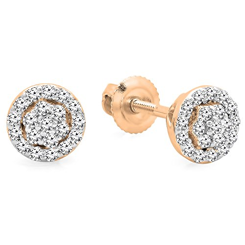 0.25 Carat (ctw) 14K Rose Gold Round White Diamond Ladies Circle Cluster Stud Earrings (Circle White Diamond Gold Earrings)