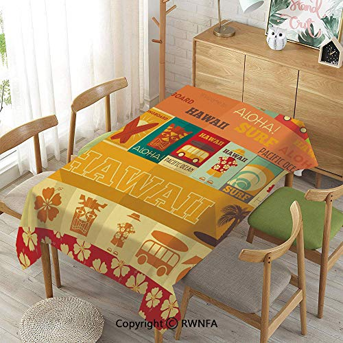 - 100% Polyester Tablecloths for Rectangle Tables,Retro Travel Cards Collection Holiday in Hawaii Icons Summer Vintage Print Decorative,Machine Washable,Multicolor,55