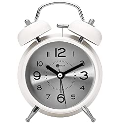 4 Twin Bell Alarm Clock,Battery Operated,with Nightlight,Non-Ticking Silent Alarm Clocks for Bedrooms,Heavy Sleepers Alarm Clock(White)